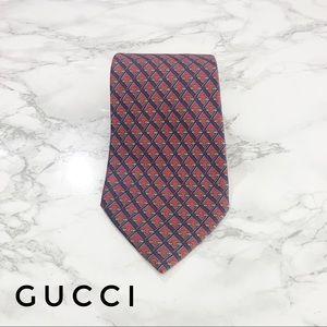 Gucci Vintage Red Blue Horsebit Chainlink Silk Tie